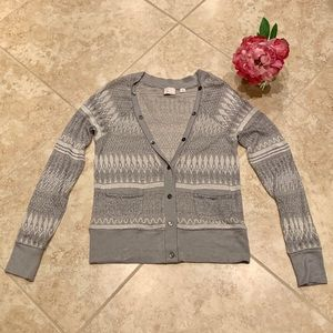 Anthropologie Gray Postage Stamp Sweater Small